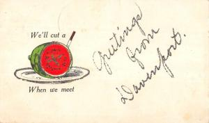 Davenport Iowa Meat Cutting Greeting Antique Postcard K82997