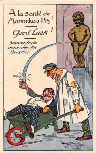 Comic Humour Belgique Bruxelles Souvenir Manneken-Pis, Good Luck! Drunk Man