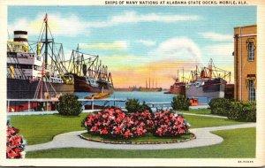 Alabama Mobile Ships Of Many Natons At Alabama State Docks Curteich