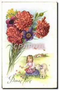Old Postcard Bonne Fete Flowers Lamb