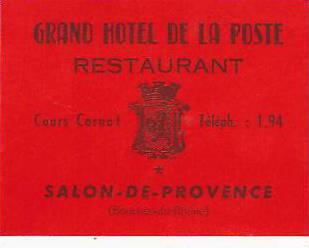 FRANCE SALON DE PROVENCE GRAND HOTEL DE LA POSTE VINTAGE LUGGAGE ...