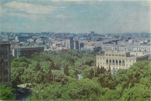 Postcard Azerbaijan BAKU Nizami square aerial view