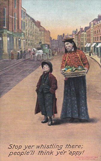 Bamforth Man With Boy Stop Yer Whistling There 1910