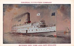 New York to Providence~Colonial Navigation Co Line~Steamer Lexington~1930s PC