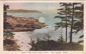 Great Head From Ocean Drive Bar Harbor Maine Handcolored Albertype 1941