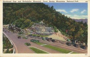 Postcard Newfound Gap Rockefeller memorial Great Smoky Mountain National Park