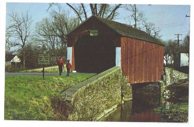 Covered Bridge Postcard Pennsylvania Erwinna Bucks County PA