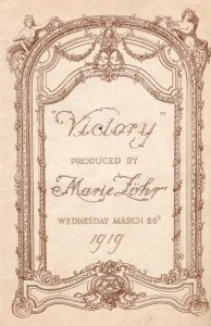 Victory by B Macdonald Hastings Marie Lohr Java 1919 Theatre Programme
