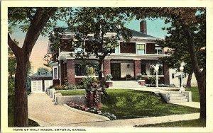 Home of Walt Mason Emporia Kansas Vintage Postcard Standard View Card