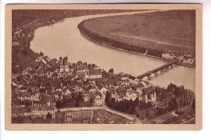 Sepia, Townview with Bridge, Sackingen am Rhein vom Flugzeug, Germany