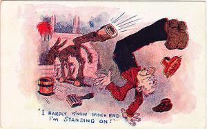Horse Kicking Man Comic Postcard