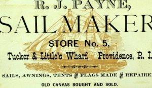 1870's R.J. Payne Sail Maker Tents Flags Tucker & Little's Wharf Clipper Card P3