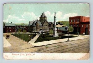 Butler PA, Diamond Park, Hotel, Pennsylvania, Vintage Postcard Z62