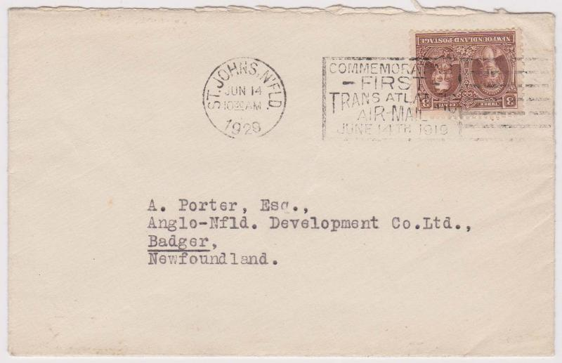 Newfoundland - 1929 June 14th Cover w #165 Slogan Cancel for Alcock & Brown
