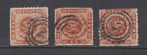 Denmark Sc 9, 9a, 9b used 1863 4s rouletted Royal Emblems, 3 colors, small fault