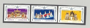 Grenada Grenadines 1977 Silver Jubilee Queen Elizabeth 3v. imperf proofs mounted
