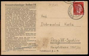 3rd Reich Germany 1943 Concentration Camp KL Dachau Cover 73639