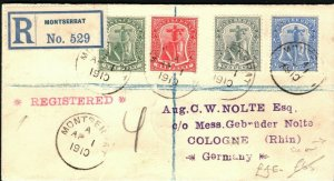 MONTSERRAT Cover Registered GERMANY Cologne via London 1910{samwells}PB292