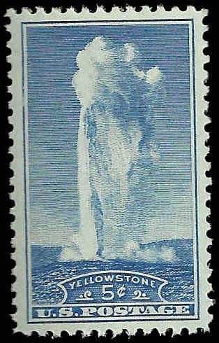 # 744 Mint Never Hinged Blue Old Faithfull National Parks...