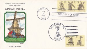 COLLINS HAND PAINTED FDC Sc# 1738-42 Windmills 1980 First Day Issue Cover
