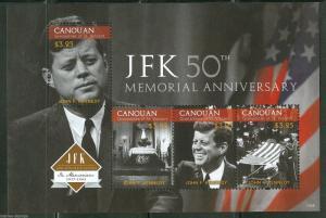 CANOUAN 2013  50th MEMORIAL ANNIVERSARY OF JOHN FITZGERALD KENNEDY SHEET MINT NH