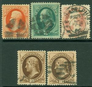 EDW1949SELL : USA 1879 Sc #183-184, 186-88 VF-XF, Used. Great centering Cat $98.