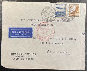 Germany #C50,C57 on Cover - First Flight Hindenburg May 5, 1936 To USA [CVR213]