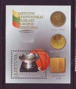Lithuania Sc 756 2003 Basketball Championships stamp sheet mint NH