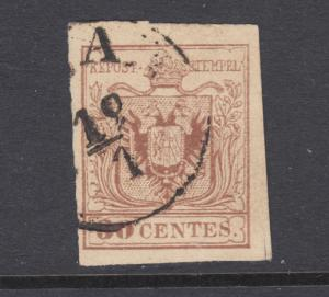 Lombardy-Venetia Sc 5d used. 1850 30c reddish brown Coat of Arms, sound