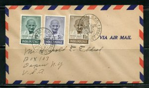 INDIA SCOTT# 203/205 GANHDI 3 VALUES ON FIRST DAY COVER TO NEW YORK RARE