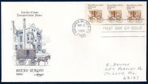 UNITED STATES FDC 25¢ Bread Wagon PNC #1 1986 Artmaster