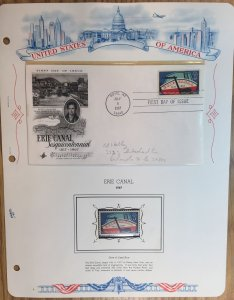 #1325 Erie Canal FDC and MNH Single in mount on souvenir page