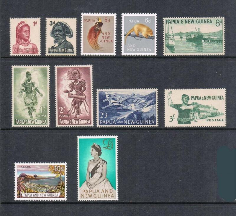 Papua New Guinea 1961 Sc 153-162 set of 11 MNH