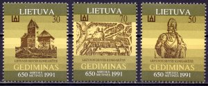 Lithuania. 1991. 486-88. 650 years of Duke Gediminas. MLH.
