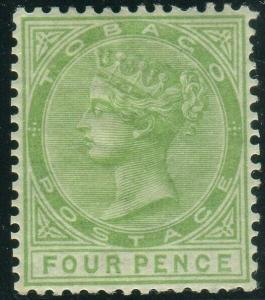 TOBAGO-1880 4d Yellow-Green.  A mounted mint example Sg 10