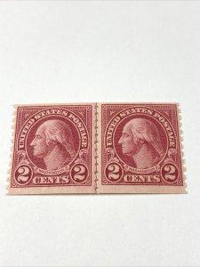 US Scott #599A ( Line Pair ) Washington Stamp VF / MNH.