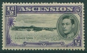 Ascension 1938 SG38b ½c black and violet Georgetown KGVI MLH