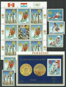 I395 PARAGUAY OLYMPIC GAMES CALGARY 1988 #4262-6+KB+BL453 MICHEL 50 EURO FIX