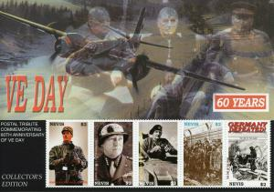 Nevis 2005 MNH WWII WW2 VE Day End World War II De Gaulle Patton 5v M/S Stamps