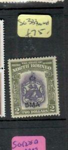 NORTH BORNEO  (PP0108B)  KGVI  BMA $2.00 ARMS SG 333   MNH