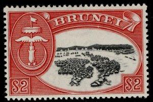 BRUNEI QEII SG112, $2 black & scarlet, VLH MINT.