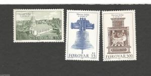 1989 Faroe Islands SC #186-188 Havnar Church  MNH stamps