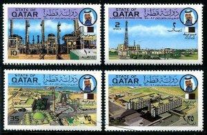 HERRICKSTAMP QATAR Sc.# 579-82 1980 Oil Industry & Hospitals Stamps