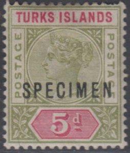 BC TURKS & CAICOS ISLANDS 1894 QV Sc 57 SG 72s OVPTD SPECIMEN MNH GBP 40.00