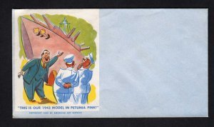 US 1942 American Art Service Comic Cachet Ship Petunia Pink Military Cover WWII
