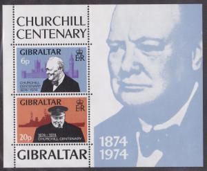 Gibraltar # 317a, Sir Winston Churchill, Souvenir Sheet, NH, 1/2 Cat.