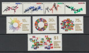 Singapore Sc 125a, 129-132 MNH. 1970 Sports strip of 4, 1971 Nations Flags, VF