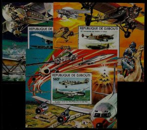 Djibouti C124-26 MNH s/s Aviation