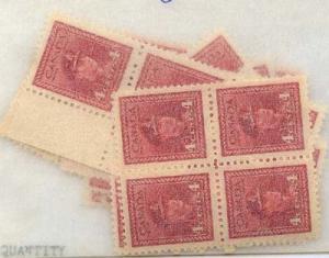 Canada USC #254 1942 4c Carmine KGVI (55) inc. Blocks - F-VF-NH