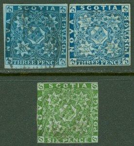 EDW1949SELL : NOVA SCOTIA 1851-57 Scott #2-4 Used. Nice group. Sound. Cat $1,215
